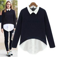 Block Long-Sleeve Collar Chiffon Sweater