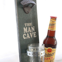 Wall Mount Bottle Opener with Mason Jar Cap Catcher-The Man Cave-painted solid wood