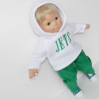 Clothes New York Fan Football White Hoodie Green Pants Handmade For Bitty Baby