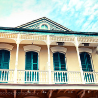 """New Orleans Photograph, """"Aqua and Yellow House"""" Travel Photography, Colorful Pastel Houses, French Quarter"""