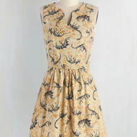 Quirky Mid-length Sleeveless A-line Dino Bones About It Dress