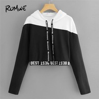 ROMWE Black And White Letter Tape Color Block Crop Sweatshirt Women Casual 2018 Autumn Womens Fashion Hooded Pullovers Hoodie