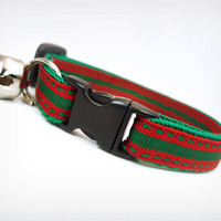 """Cat Collar - """"Holiday Road"""" - Christmas Red & Green Topstitch"""