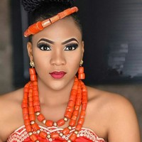 Fashion Nigerian Coral Beads Necklace Earrings Set for Bride New African Wedding Jewelry Set Free Shipping CNR665
