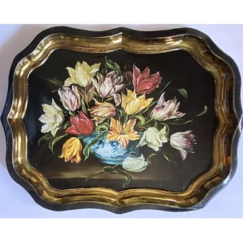 Vtg English Tole Tray w/ Still Life of Chinoiserie Blue Transferware Bowl w/ Parrot Tulips