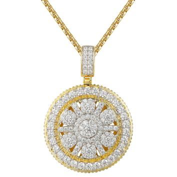 Solitaire Cluster Bling Medallion 925 Pendant Exclusive