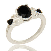 925 Sterling Silver Black Onyx And White Topaz Cluster Ring