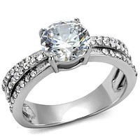 Mens Engagement Rings TK2862 Stainless Steel Ring with AAA Grade CZ