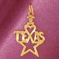 14K GOLD TRAVEL CHARM - I LOVE TEXAS #4880