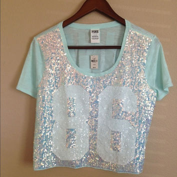 New Victoria's Secret Pink Bling Cropped Tee