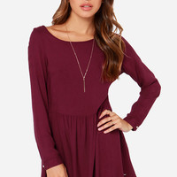 Rhythm Florence Burgundy Long Sleeve Dress