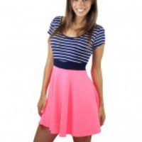 Neon Pink And Navy Striped Dress