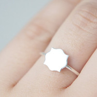 MINIATURE MIRROR RING in Sterling Silver by Gemagenta - Hand Cut - Cute, Tiny, Shiny, Oval, Circle, Baroque, Shabby Chic, Stackable Rings