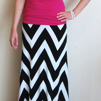 Chevron Maxi Skirt Black and White Made in the USA by LaRoseLilacs