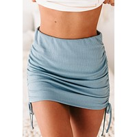Tunnel Vision Ribbed Side-Ruched Bodycon Skirt (Denim Blue)