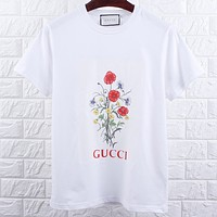 Gucci 2019 new floral print men and women round neck half sleeve t-shirt white