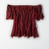 AEO Off-the-Shoulder Eyelash Lace Top, Burgundy