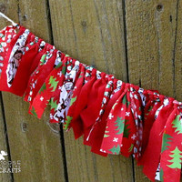 Christmas rag garland, rustic christmas, red, christmas trees, santas, snowmen, christmas mantle decoration, winter, photo prop, swag