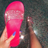 Women Slippers Glitter Jelly Shoes Flat Sliders Women's Female Beach Shoes Woman Fashion Ladies Slides