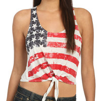 Flag Tie Front Tank | Shop Junior Clothing at Wet Seal