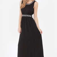Highs and Bows Embroidered Black Maxi Dress