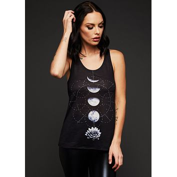 Lotus Flower Moon Phases Loose Fit Tank Top