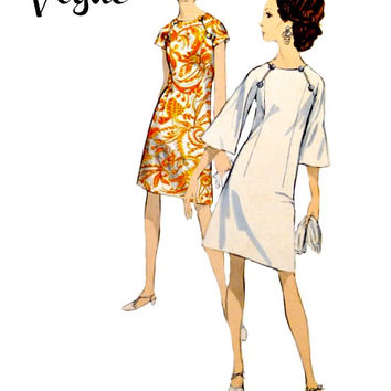 60s Vogue Pattern 7064 A Line Dress Easy to Sew Front Seam Slits Raglan Sleeves Vintage Sewing Patterns Uncut Size 12 Bust 32