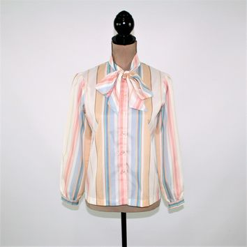 1980s Vintage Clothing 80s Blouse Long Sleeve Striped Button Up Bow Blouse Pussybow Secretary Blouse Women Small Medium Petite Clothing