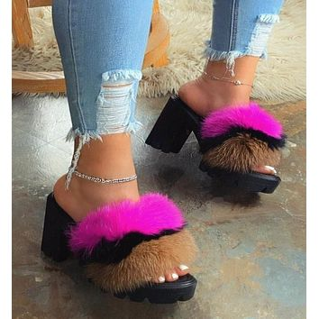 New fashion slippers women's color matching thick heel ladies fur slippers