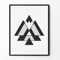 Abstract Geometric Print, Triangle Wall Art, Pattern Print, Black and White, Wall Decor, Minimalist Poster, Scandinavian, Nursery Wall Art