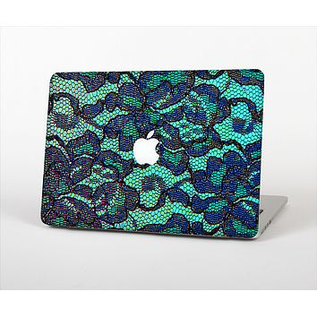 "The Blue & Teal Lace Texture Skin Set for the Apple MacBook Pro 13"" with Retina Display"