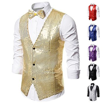 Sequined Men's Vest With Bowtie Performance Clothing
