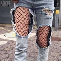 LAISIYI Women Sexy Fishnet Mesh Fitness Leggings Hollow Out Net Club Party Hosiery Pants ASLE10003