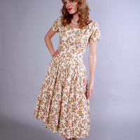 1950s floral dress . 50s moss cream and apricot summer dress .  Summer In Song