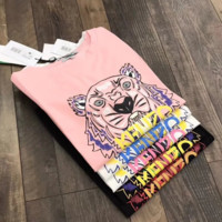 Kenzo Summer new tiger letter print short-sleeved shirt top Pink