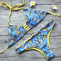 Halter Floral Printing Beach Bathing Suit Bikinis Bandage Swimsuit