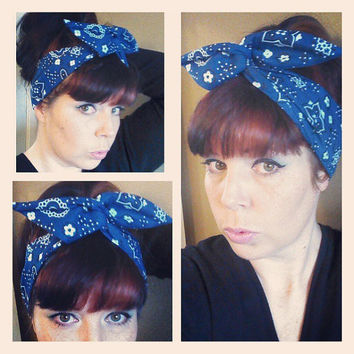 Blue Bandana Print Dolly Bow Headwrap Bandana Hair Bow 1940s 1950s Vintage Style Fabric - Rockabilly - Pin Up - For Women, Teens
