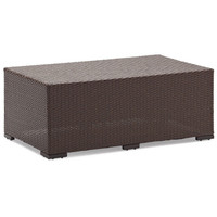 Outdoor Patio Coffee Table in Dark Brown All-Weather Wicker