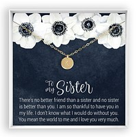 Sisters  Engraved Disc Necklace