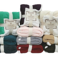 "Reversible Sherpa Throw Blankets 50""x 60"""
