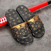 LV Louis Vuitton Summer Mens and Womens Slippers Shoes-1