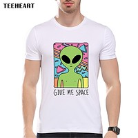 Give Me Space New Arrival Vintage Alien Printed Men's Casual T-shirt Male Retro Design Funny Tops/tee