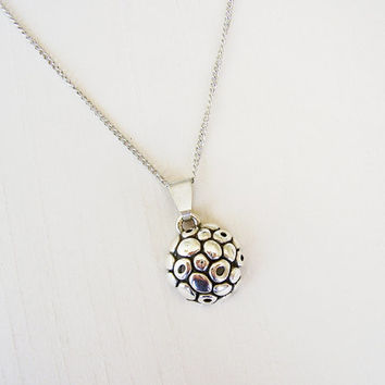 Sterling Silver Organic Pendant, silver plated chain - Organic Texture - Round Silver Charm