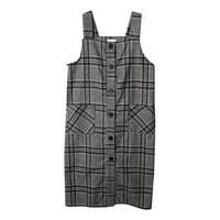 Check Print Button-Down Pinafore Dress