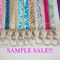 SAMPLE SALE - Lanyard  ID Badge Holder - skinny design -  Lobster clasp and key ring - as is