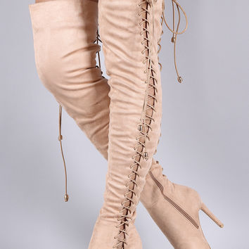 Suede Corset Lace Up Pointy Toe Stiletto Over-The-Knee Boots