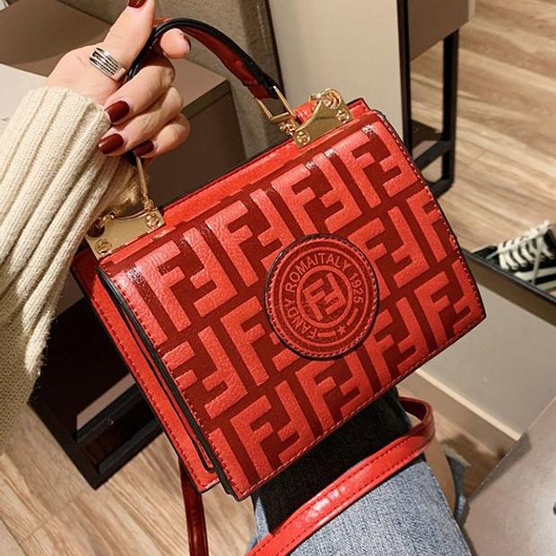 Image of Fendi Fashion New More Letter Leather Shopping Leisure Shoulder Bag Women Coffee