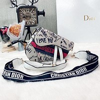 Dior CD Trendy Stitching Graffiti Letter Print Saddle Bag Hot Sale Ladies Shoulder Messenger Bag