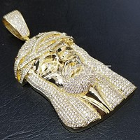 New Lab diamond Micro Pave JUMBO Jesus Face Pendant.