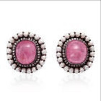 Tourmaline Pearl pave Diamond Stud Earrings